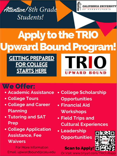 Apply to Upward Bound Program for 8th Grade students with the QR code shown here